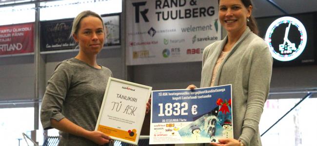 TÜ ASK kogus heategevusliku jõuluvõistlusega Lastefondile 1832 eurot!